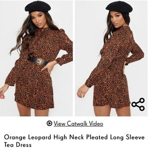 NWT PrettyLittleThing orange leopard dress